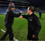 19 December 2020; Referee David Coldrick and Mayo manager James Horan greet each other before the GAA Football All-Ireland Senior Championship Final match between Dublin and Mayo at Croke Park in Dublin. Photo by Ray McManus/Sportsfile