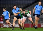 19 December 2020; Stephen Coen of Mayo in action against David Byrne of Dublin during the GAA Football All-Ireland Senior Championship Final match between Dublin and Mayo at Croke Park in Dublin. Photo by Seb Daly/Sportsfile