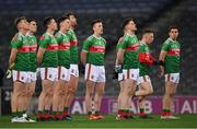 19 December 2020; Mayo players, from left, Eoghan McLaughlin, Patrick Durcan, Stephen Coen, Diarmuid O'Connor, Aidan O'Shea, Cillian O'Connor, Ryan O'Donoghue and Lee Keegan during the national anthem prior to the GAA Football All-Ireland Senior Championship Final match between Dublin and Mayo at Croke Park in Dublin. Photo by Seb Daly/Sportsfile