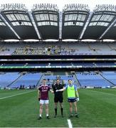 19 December 2020; Referee Paul Faloon with team captains Jack Glynn of Galway and Rory Dwyer of Dublin prior to the EirGrid GAA Football All-Ireland Under 20 Championship Final match between Dublin and Galway at Croke Park in Dublin. Photo by Piaras Ó Mídheach/Sportsfile
