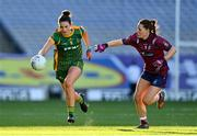 20 December 2020; Máire O'Shaughnessy of Meath in action against Tracey Dillon of Westmeath during the TG4 All-Ireland Intermediate Ladies Football Championship Final match between Meath and Westmeath at Croke Park in Dublin. Photo by Brendan Moran/Sportsfile