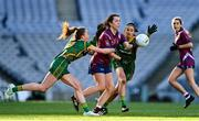 20 December 2020; Vicky Carr of Westmeath in action against Aoibhín Cleary, left, and Niamh O'Sullivan of Meath during the TG4 All-Ireland Intermediate Ladies Football Championship Final match between Meath and Westmeath at Croke Park in Dublin. Photo by Brendan Moran/Sportsfile