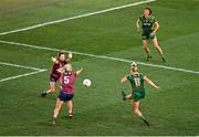 20 December 2020; Vikki Wall of Meath shoots to score her side's second goal despite the attention of Lorraine Duncan, 5, and Lucy Power of Westmeath during the TG4 All-Ireland Intermediate Ladies Football Championship Final match between Meath and Westmeath at Croke Park in Dublin. Photo by Sam Barnes/Sportsfile