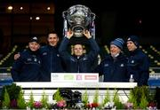 19 December 2020; Dublin manager Dessie Farrell, centre, lifts the Sam Maguire Cup with selectors and coaches, from left, Mick Galvin, Brian O'Regan, Shane O'Hanlon and Darren Daly following the GAA Football All-Ireland Senior Championship Final match between Dublin and Mayo at Croke Park in Dublin. Photo by Stephen McCarthy/Sportsfile