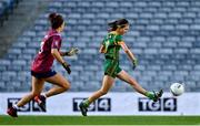 20 December 2020; Niamh O'Sullivan of Meath shoots at an open goal, which hit the post, watched by Lucy Power of Westmeath during the TG4 All-Ireland Intermediate Ladies Football Championship Final match between Meath and Westmeath at Croke Park in Dublin. Photo by Brendan Moran/Sportsfile