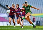 20 December 2020; Vikki Wall of Meath in action against Fiona Claffey of Westmeath during the TG4 All-Ireland Intermediate Ladies Football Championship Final match between Meath and Westmeath at Croke Park in Dublin. Photo by Eóin Noonan/Sportsfile