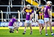 20 December 2020; Shamey O'Hagan of Wexford, left, following his side's defeat in the Electric Ireland Leinster GAA Hurling Minor Championship Semi-Final match between Wexford and Kilkenny at Chadwicks Wexford Park in Wexford. Photo by Seb Daly/Sportsfile