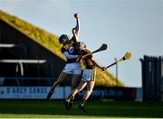20 December 2020; Liam Schockman of Wexford in action against Denis Walsh of Kilkenny during the Electric Ireland Leinster GAA Hurling Minor Championship Semi-Final match between Wexford and Kilkenny at Chadwicks Wexford Park in Wexford. Photo by Seb Daly/Sportsfile