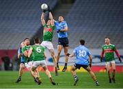 19 December 2020; Diarmuid O'Connor of Mayo in action against James McCarthy of Dublin during the GAA Football All-Ireland Senior Championship Final match between Dublin and Mayo at Croke Park in Dublin. Photo by Stephen McCarthy/Sportsfile