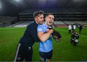 19 December 2020; Dublin's Michael Darragh MacAuley and David Byrne, right, celebrate following the GAA Football All-Ireland Senior Championship Final match between Dublin and Mayo at Croke Park in Dublin. Photo by Stephen McCarthy/Sportsfile