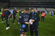 19 December 2020; Dublin goalkeeper Stephen Cluxton is given his speech by Dublin media manager Seamus McCormack following the GAA Football All-Ireland Senior Championship Final match between Dublin and Mayo at Croke Park in Dublin. Photo by Stephen McCarthy/Sportsfile