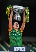 20 December 2020; Meath captain Máire O'Shaughnessy lifting the cup following the TG4 All-Ireland Intermediate Ladies Football Championship Final match between Meath and Westmeath at Croke Park in Dublin. Photo by Eóin Noonan/Sportsfile