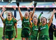 20 December 2020; Meath players, from left, Niamh Gallogly, Aoibhín Cleary, Niamh O'Sullivan and Shauna Ennis celebrate after the TG4 All-Ireland Intermediate Ladies Football Championship Final match between Meath and Westmeath at Croke Park in Dublin. Photo by Brendan Moran/Sportsfile