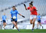 20 December 2020; Aoife Kane of Dublin in action against Ciara O'Sullivan of Cork during the TG4 All-Ireland Senior Ladies Football Championship Final match between Cork and Dublin at Croke Park in Dublin. Photo by Piaras Ó Mídheach/Sportsfile