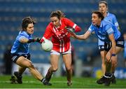 20 December 2020; Melissa Duggan of Cork in action against Niamh Collins, left, and Siobhán McGrath of Dublin during the TG4 All-Ireland Senior Ladies Football Championship Final match between Cork and Dublin at Croke Park in Dublin. Photo by Brendan Moran/Sportsfile