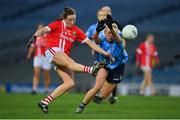 20 December 2020; Carla Rowe of Dublin attempts to block a shot by Áine O'Sullivan of Cork during the TG4 All-Ireland Senior Ladies Football Championship Final match between Cork and Dublin at Croke Park in Dublin. Photo by Brendan Moran/Sportsfile