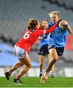 20 December 2020; Nicole Owens of Dublin is tackled by Ashling Hutchings of Cork during the TG4 All-Ireland Senior Ladies Football Championship Final match between Cork and Dublin at Croke Park in Dublin. Photo by Eóin Noonan/Sportsfile