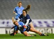 20 December 2020; Carla Rowe of Dublin is fouled by Martina O'Brien of Cork resulting in a penalty during the TG4 All-Ireland Senior Ladies Football Championship Final match between Cork and Dublin at Croke Park in Dublin. Photo by Eóin Noonan/Sportsfile