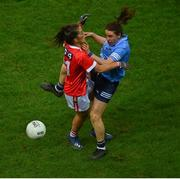 20 December 2020; Siobhán McGrath of Dublin in action against Ciara O'Sullivan of Cork during the TG4 All-Ireland Senior Ladies Football Championship Final match between Cork and Dublin at Croke Park in Dublin. Photo by Sam Barnes/Sportsfile