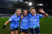 20 December 2020; Dublin players, from left, Sarah McCaffrey, Leah Caffrey and Noelle Healy celebrate following the TG4 All-Ireland Senior Ladies Football Championship Final match between Cork and Dublin at Croke Park in Dublin. Photo by Piaras Ó Mídheach/Sportsfile