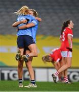 20 December 2020; Carla Rowe and Jennifer Dunne of Dublin celebrate at the final whistle of the TG4 All-Ireland Senior Ladies Football Championship Final match between Cork and Dublin at Croke Park in Dublin. Photo by Brendan Moran/Sportsfile