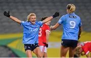 20 December 2020; Carla Rowe, left, and Jennifer Dunne of Dublin celebrate at the final whistle of the TG4 All-Ireland Senior Ladies Football Championship Final match between Cork and Dublin at Croke Park in Dublin. Photo by Brendan Moran/Sportsfile