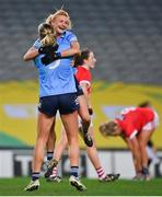 20 December 2020; Carla Rowe, right, and Jennifer Dunne of Dublin celebrate at the final whistle of the TG4 All-Ireland Senior Ladies Football Championship Final match between Cork and Dublin at Croke Park in Dublin. Photo by Brendan Moran/Sportsfile
