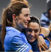 20 December 2020; Dublin players Lyndsey Davey and Sinéad Goldrick celebrate after the TG4 All-Ireland Senior Ladies Football Championship Final match between Cork and Dublin at Croke Park in Dublin. Photo by Brendan Moran/Sportsfile