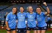 20 December 2020; Dublin players, from left, Kate Sullivan, Sinéad Aherne, Nicole Owens and Niamh McEvoy celebrate after the TG4 All-Ireland Senior Ladies Football Championship Final match between Cork and Dublin at Croke Park in Dublin. Photo by Brendan Moran/Sportsfile