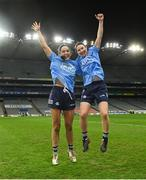 20 December 2020; Dublin players Sinéad Goldrick, left, and Sinéad Aherne celebrate after the TG4 All-Ireland Senior Ladies Football Championship Final match between Cork and Dublin at Croke Park in Dublin. Photo by Piaras Ó Mídheach/Sportsfile