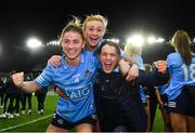 20 December 2020; Aoife Kane of Dublin, left, with her sister Laura Kane, right, and Carla Rowe of Dublin following the TG4 All-Ireland Senior Ladies Football Championship Final match between Cork and Dublin at Croke Park in Dublin. Photo by Eóin Noonan/Sportsfile