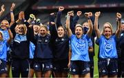 20 December 2020; Dublin players, from left, Rebecca McDonnell, Laura McGinley, Hannah O'Neill, Lyndsey Davey and Siobhán McGrath celebrate after the TG4 All-Ireland Senior Ladies Football Championship Final match between Cork and Dublin at Croke Park in Dublin. Photo by Brendan Moran/Sportsfile