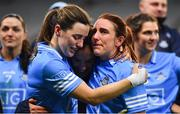 20 December 2020; Dublin players, from left, Lyndsey Davey, Hannah O'Neill and Siobhán McGrath embrace after their side's victory in the TG4 All-Ireland Senior Ladies Football Championship Final match between Cork and Dublin at Croke Park in Dublin. Photo by Brendan Moran/Sportsfile