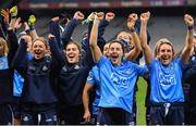 20 December 2020; Dublin players, from left, Laura McGinley, Hannah O'Neill, Sinéad Goldrick, Lyndsey Davey and Siobhán McGrath celebrate after the TG4 All-Ireland Senior Ladies Football Championship Final match between Cork and Dublin at Croke Park in Dublin. Photo by Brendan Moran/Sportsfile