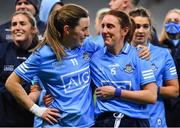 20 December 2020; Dublin players Lyndsey Davey, left, and Siobhán McGrath embrace after their side's victory in the TG4 All-Ireland Senior Ladies Football Championship Final match between Cork and Dublin at Croke Park in Dublin. Photo by Brendan Moran/Sportsfile