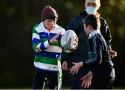 20 December 2020; Rían Duffy, left, and Liam Cunningham in action during Gorey RFC Minis Training at Gorey RFC in Gorey, Wexford. Photo by Seb Daly/Sportsfile