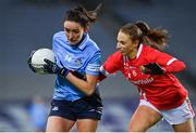20 December 2020; Niamh McEvoy of Dublin is tackled by Ashling Hutchings of Cork during the TG4 All-Ireland Senior Ladies Football Championship Final match between Cork and Dublin at Croke Park in Dublin. Photo by Brendan Moran/Sportsfile