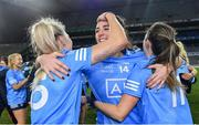 20 December 2020; Dublin players, from left, Nicole Owens, Niamh McEvoy, and Lyndsey Davey celebrate after the TG4 All-Ireland Senior Ladies Football Championship Final match between Cork and Dublin at Croke Park in Dublin. Photo by Piaras Ó Mídheach/Sportsfile