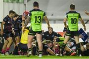 20 December 2020; Bryan Byrne of Bristol Bears scores his side's first try during the Heineken Champions Cup Pool B Round 2 match between Connacht and Bristol Bears at the Sportsground in Galway. Photo by Ramsey Cardy/Sportsfile