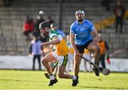 12 December 2020; Pádhraic Linehan of Dublin in action against Rory Carty of Offaly during the Bord Gais Energy Leinster Under 20 Hurling Championship Quarter-Final match between Offaly and Dublin at St Brendan's Park in Birr, Offaly. Photo by Sam Barnes/Sportsfile