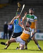 12 December 2020; Rory Carty of Offaly, supported by team-mate Conor Butler, right, in action against Luke McDwyer of Dublin during the Bord Gais Energy Leinster Under 20 Hurling Championship Quarter-Final match between Offaly and Dublin at St Brendan's Park in Birr, Offaly. Photo by Sam Barnes/Sportsfile