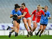 20 December 2020; Niamh Collins of Dublin in action against Áine O'Sullivan of Cork during the TG4 All-Ireland Senior Ladies Football Championship Final match between Cork and Dublin at Croke Park in Dublin. Photo by Eóin Noonan/Sportsfile