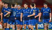 18 December 2020; The Leinster pack, including Dan Sheehan, Marcus Hanan, Greg McGrath and Joe McCarthy, during the A Interprovincial Friendly match between Munster A and Leinster A at Thomond Park in Limerick. Photo by Brendan Moran/Sportsfile