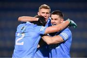19 December 2020; Dublin players, from left, Michael Fitzsimons, Paul Mannion and David Byrne celebrate following their sides victory in the the GAA Football All-Ireland Senior Championship Final match between Dublin and Mayo at Croke Park in Dublin. Photo by Sam Barnes/Sportsfile
