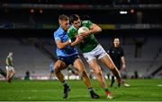 19 December 2020; Lee Keegan of Mayo in action against Jonny Cooper of Dublin during the GAA Football All-Ireland Senior Championship Final match between Dublin and Mayo at Croke Park in Dublin. Photo by Sam Barnes/Sportsfile