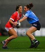 20 December 2020; Ciara O'Sullivan of Cork is tackled by Siobhán McGrath of Dublin during the TG4 All-Ireland Senior Ladies Football Championship Final match between Cork and Dublin at Croke Park in Dublin. Photo by Piaras Ó Mídheach/Sportsfile