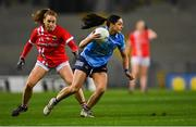 20 December 2020; Sinéad Goldrick of Dublin in action against Ashling Hutchings of Cork during the TG4 All-Ireland Senior Ladies Football Championship Final match between Cork and Dublin at Croke Park in Dublin. Photo by Piaras Ó Mídheach/Sportsfile