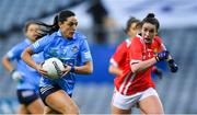 20 December 2020; Sinéad Goldrick of Dublin in action against Shauna Kelly of Cork during the TG4 All-Ireland Senior Ladies Football Championship Final match between Cork and Dublin at Croke Park in Dublin. Photo by Piaras Ó Mídheach/Sportsfile