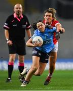 20 December 2020; Sinéad Goldrick of Dublin in action against Doireann O'Sullivan of Cork during the TG4 All-Ireland Senior Ladies Football Championship Final match between Cork and Dublin at Croke Park in Dublin. Photo by Piaras Ó Mídheach/Sportsfile
