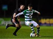 21 December 2020; Kevin Zefi of Shamrock Rovers in action against Gavin O'Brien of Bohemians during the SSE Airtricity U17 National League Final match between Shamrock Rovers and Bohemians at the UCD Bowl in Dublin. Photo by Sam Barnes/Sportsfile